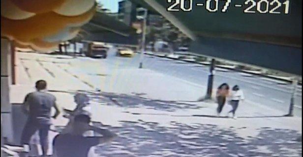 Taksinin kız çocuğunu sürüklediği anlar kamerada