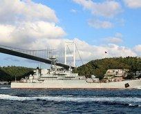 Rus savaş gemisi Boğaz'dan geçti! O detay dikkat çekti