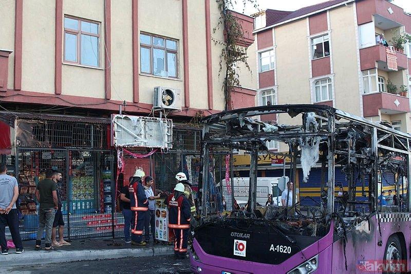Gaziosmanpaşada yanan otobüsün içinden çıkan şey şoke etti