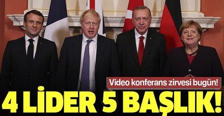 Video konferansla 4'lü zirve: 5 başlık masada! Ana gündem İdlib...