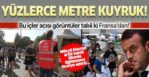 Bu içler acısı görüntüler Fransa'dan! Yüzlerce metrelik kuyruk...