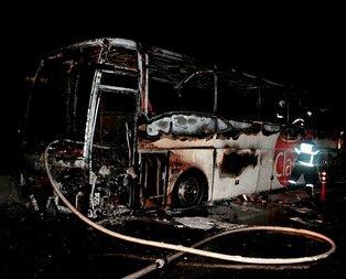 Yolcu otobüsü alev aldı! 31 kişi ölümden döndü