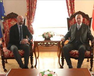 Son dakika: Başkan Erdoğan Avrupa Birliği Konseyi Başkanı Charles Michel ile görüştü