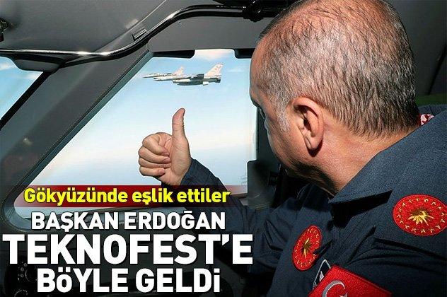 Başkan Erdoğan Teknofeste böyle geldi