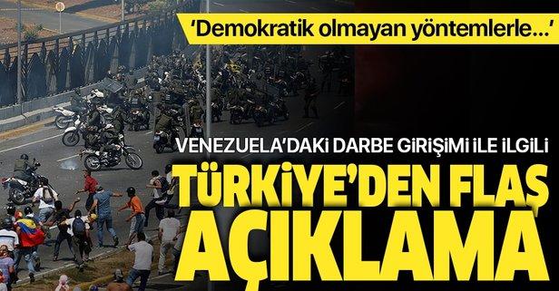 Türkiye'den Venezuela'daki darbe girişimi ile ilgili flaş açıklama