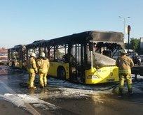 İstanbulda otobüs yangını! Patlama sesleri duyuldu