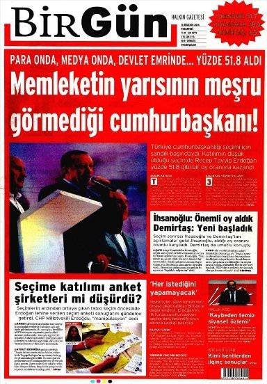 11 Ağustos 2014 gazete manşetleri