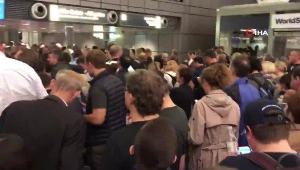 Hamburg Havalimanı'nda güvenlik alarmı! O anlar kamerada