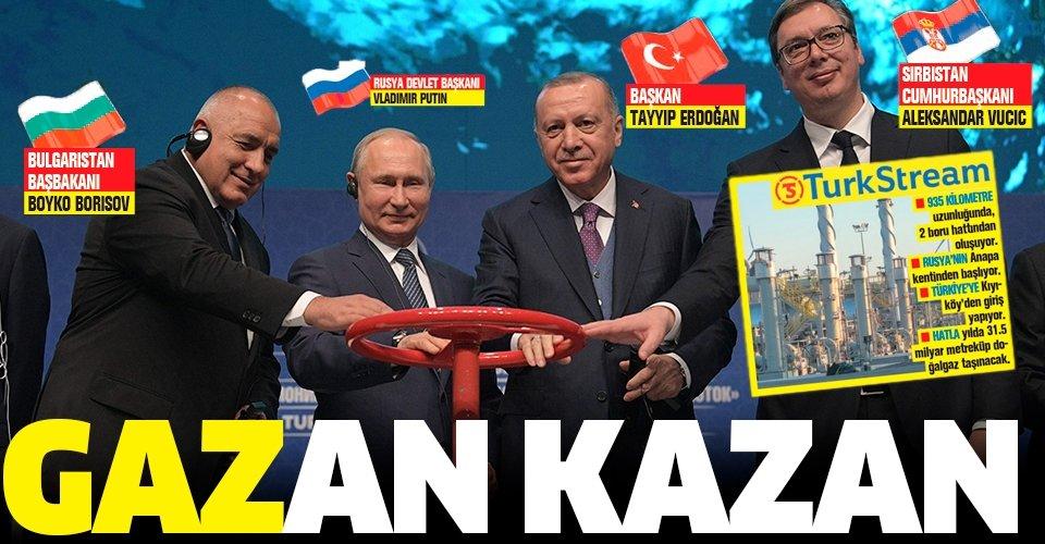 Başkan Erdoğan dünya liderlerinin katılımıyla TürkAkım'ın vanasını açtı!