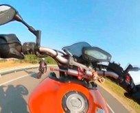 Motosikletli maganda kamerada! Skandal görüntü