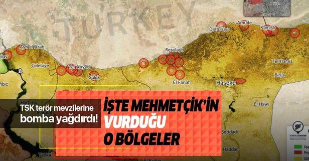 TSK'nın Suriye'de vurduğu yerler! İşte harita...