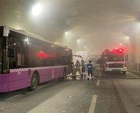 Taksim'de İETT otobüsü yandı! Yol trafiğe kapandı