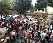 Şişli'de mezarlık duvarı yıkıldı... Yaralılar var