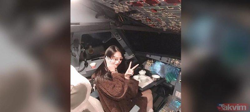 Uçakta çekilen bu kare olay yarattı! Pilot, kadın yolcuyu kabine aldı ve...