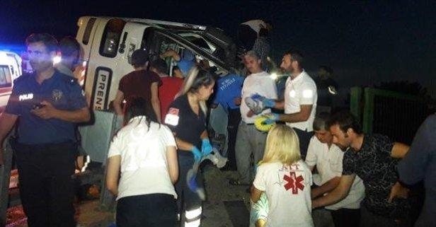 Bursa'da otobüs devrildi