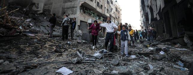 İşte İşgalci İsrailin vurduğu binanın gündüz görüntüleri