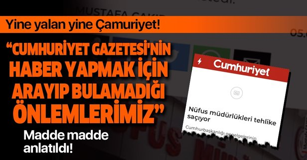 Cumhuriyet gazetesinin yalan haberlerine sert tepki!
