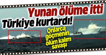 Son dakika: Yunan Sahil Güvenlik unsurlarınca Türk kara sularına itilen bottaki 48 göçmen kurtarıldı