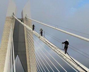 322 metrede nefes kesen çalışma! Yavuz Sultan Selim Köprüsü'nün halatlarında bakım-onarım çalışması