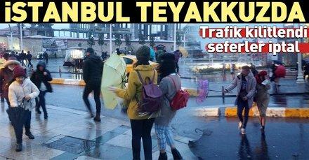 Son dakika: İstanbul'da beklenen yağış ve rüzgar etkisini göstermeye başladı