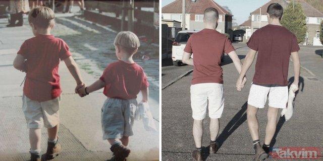 Çocukluk fotoğraflarını yeniden canlandırarak annelerine sürpriz yaptılar