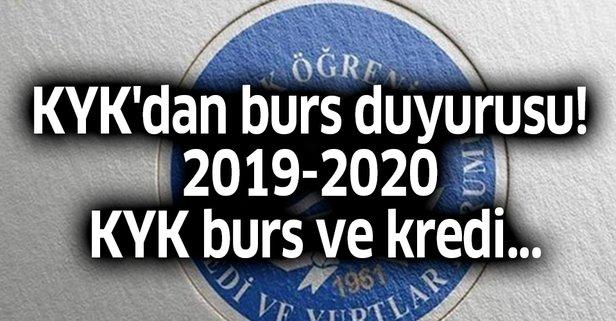 KYK'dan burs duyurusu! 2019-2020 KYK burs ve kredi...