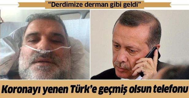 Başkan'dan koronavirüsü yenen Türk'e telefon