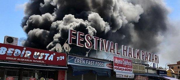 Antalyada yangın! Onlarca dükkan tahliye edildi