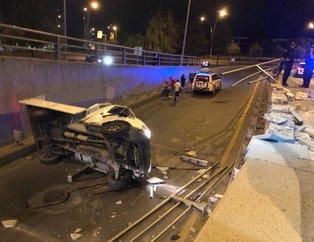 Ankara'da feci kaza! Kamyonet köprüden düştü
