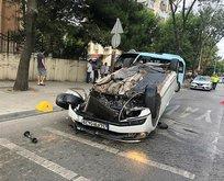 Akılalmaz kaza! Takla atan otomobilden kopan parça...