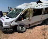Şanlıurfa'da korkunç kaza: yolcu minübüsü devrildi!