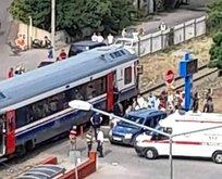 Trenin vurduğu ticari araçta yaralanan olmadı