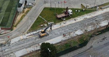 İstanbul'da korkutan görüntü! İBB'nin tramvay inşaatında çökme
