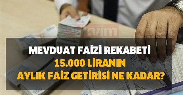 Bankalarda mevduat faizi rekabeti: 15.000 liranın aylık faiz getirisi ne kadar, kaç TL?