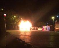 Bakırköy'de halk ekmek büfesi alev alev yandı