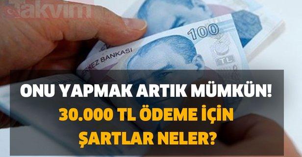 Onu yapmak artık mümkün! 30.000 TL ödeme için şartlar neler?