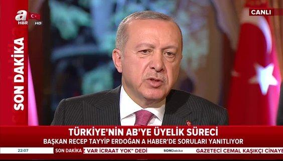 Başkan Erdoğan'dan Türkiye'nin AB'ye üyelik sürecine ilişkin açıklama