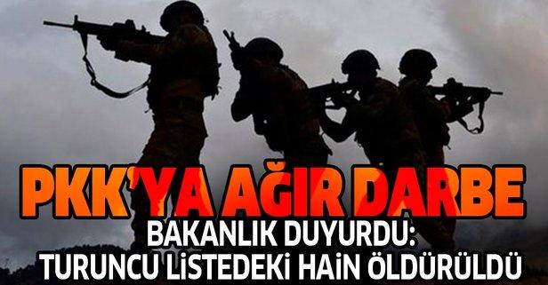 Bakanlık duyurdu: Turuncu listedeki terörist öldürüldü