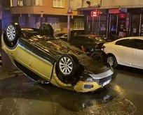 Kontrolden çıkan araç sokak arasında takla attı