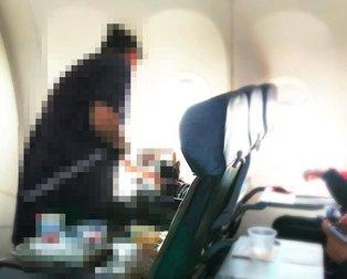 Uçakta şoke eden görüntü! Bu fotoğraf sosyal medyayı salladı