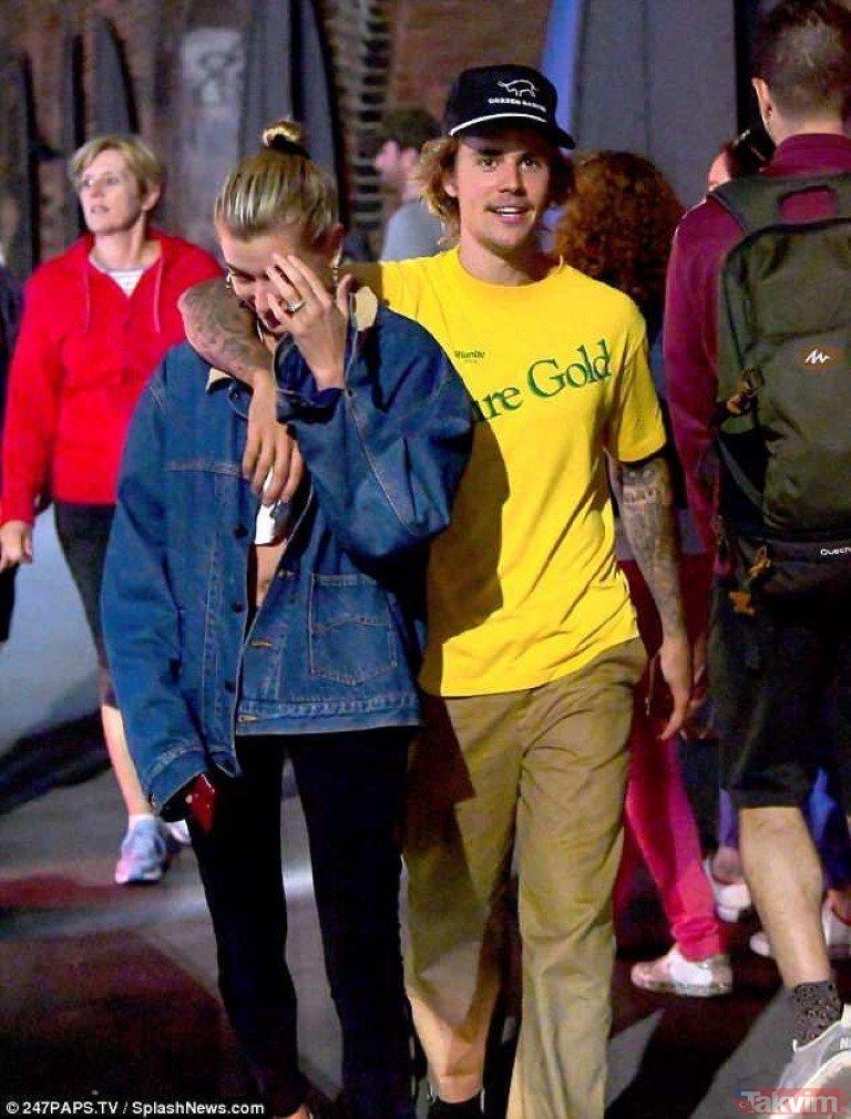 Justin Bieber ile Hailey Baldwin yüzük taktı