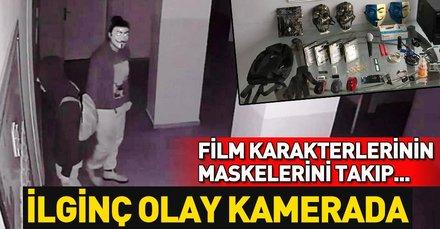 Film karakterlerinin maskeleriyle hırsızlığa 2 tutuklama! O anlar saniye saniye görüntülendi