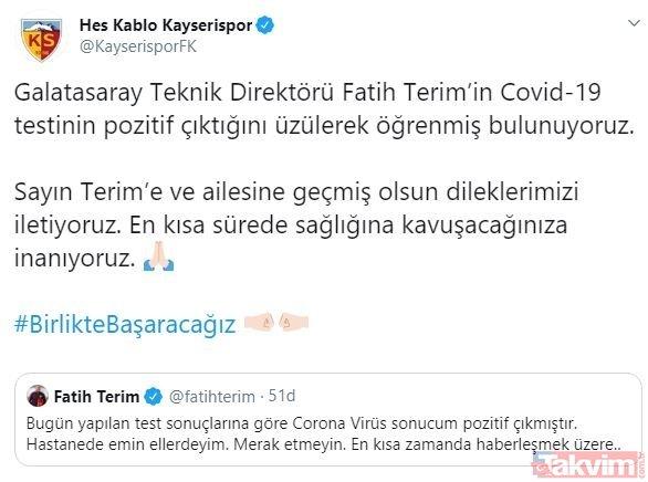 Fatih Terim'in koronavirüs testi pozitif çıktı! Spor kulüplerinden geçmiş olsun mesajı yağdı
