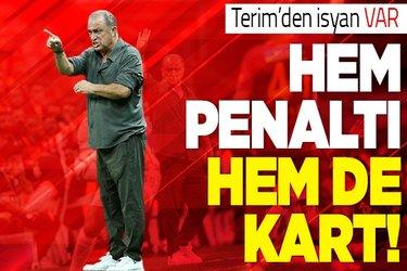 Galatasaray TeknikDirektörü Fatih Terim'den VAR isyanı: Hem penaltı, hem kart