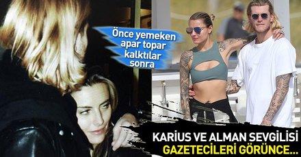 Beşiktaş'ın yıldız oyuncusu Loris Karius ve sevgilisi Sophia Thomalla yemek çıkışı gazetecileri görünce...