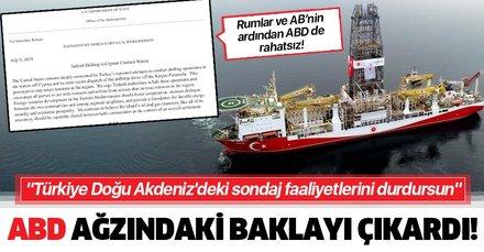 ABD yönetimi ağzındaki baklayı sonunda çıkardı! Türkiye Doğu Akdeniz'deki sondaj faaliyetlerini durdursun