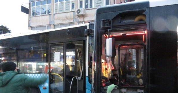 Beykoz'da özel halk otobüsleri kafa kafaya çarpıştı