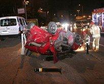 Beşiktaş'ta feci kaza! Otomobil takla attı