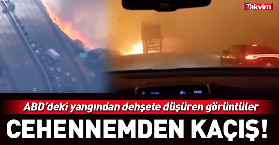 Californiadaki yangından kaçış anları kameralara böyle yansıdı