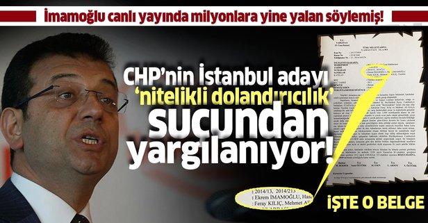 CHP'nin adayı İmamoğlu yine yalan söylemiş
